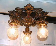 Vintage Lighting Antique Restored Ceiling Light Fixture 1930 Cast Iron Art Deco Hanging Lamp. $270.00, via Etsy.