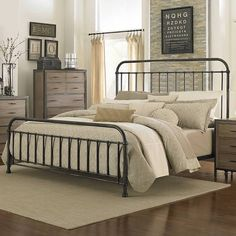 Bed frame Shady Grove Iron Bed in Antiqued Natural by Magnussen Home California King Bed Frame, California King Bedding, Home Bedroom, Bedroom Furniture, Bedroom Decor, Master Bedroom, Wooden Bedroom, Bedroom Retreat, Bedroom Rustic