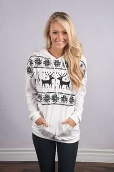 Reindeer Games Hoodie ~ Ivory – The Pulse Boutique