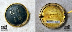 "The Royal Irish Regiment, also known as the 18th Regiment of Foot, was originally formed raised in 1684 in Ireland and served nobly until being disbanded in 1922.   This button comes from the collection of the Abraham Lincoln Presidential Library and features ""RI / 18"" on the front which is set into a gold tone metal pin back. The reverse side of the button features the engraving, ""Carol Carpenter / St. Louis"". Carol Carpenter, Abraham Lincoln Presidential Library, Teaching History, St Louis, Ireland, Irish, 18th, Museum, Button"