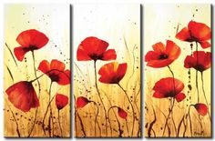 Decorative Flowers Abstract Warm Color Decorative Modern Oil Painting Hand Painted Wall Art Contemporary 3 Piece Ready to Hang Triptych Wall Art, Modern Oil Painting, Flower Artwork, Flower Paintings, Oil Paintings, Painting Inspiration, Poppies, Cool Art, Canvas Art