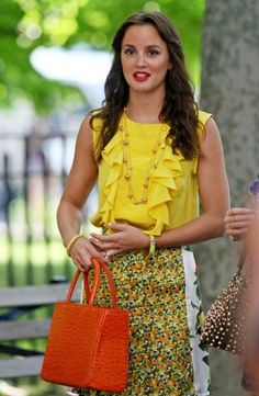 Blair Waldorf in Stella McCartney (skirt), Peter Som (blouse) and Riki Rosetta (bag) (5.02 Beauty And The Feast)