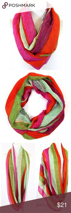 """B28 Blue Yellow Black Lightweight Infinity Scarf ‼️ PRICE FIRM UNLESS BUNDLED WITH OTHER ITEMS FROM MY CLOSET ‼️   Beautiful and colorful scarf.  Bright red, green, black & fuchsia.  100% polyester.  Please check my closet for many more items including jewelry, scarves, designer clothing, handbags shoes & more!   36"""" wide  29"""" long Accessories Scarves & Wraps"""