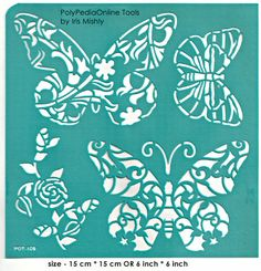 "Stencil Stencils Pattern Template ""Butterfly"" 6 inch/15 cm, reusable, adhesive, flexible, for polymer clay, fabric, wood, glass, card making"