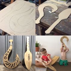 How to make a simple Moana paddle and easy Maui fish hook! Light-weight and easy to hold - these are perfect for small kids. Really cheap to make and will only take you an hour! #moana #maui #moanathemovie