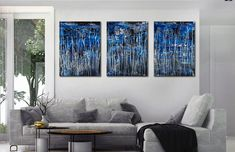 Supermoon (Silver Drizzles) (2021) / Triptych - ABSTRACT ART - NESTOR TORO - LOS ANGELES Large Painting, Acrylic Painting Canvas, Canvas Artwork, Abstract Painters, Abstract Art, Super Moon, Painting Edges, Triptych, Abstract Styles