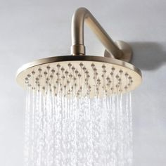 Bring your bathroom into the Century with the Crosswater MPRO Round Fixed Shower Head - Brushed Brass - now available from Tap Warehouse. Get free UK mainland delivery when you spend over and a 15 year guarantee from Crosswater. Brass Shower Head, Fixed Shower Head, Shower Arm, Bath Shower, Shower Fittings, Brass Fittings, Plumbing Fixtures, Brass Tap, Gold Taps