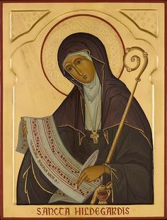 Hildegard of Bingen, icon by Marek Czarnecki by andrea Religious Images, Religious Icons, Religious Art, Catholic Art, Catholic Saints, Byzantine Icons, Mystique, Art Icon, Orthodox Icons