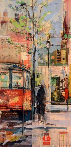 Abstract Trolley Car - San Francisco City - oil #OilPaintingCity