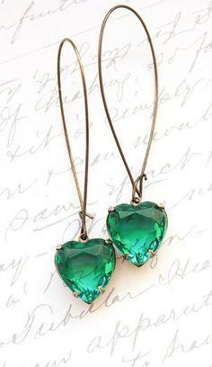 Emerald Green Rhinestone Heart Earrings
