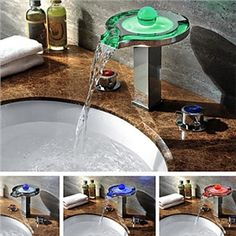 Bathroom Sink Faucets - Color Changing LED Waterfall Widespread Bathroom Sink Faucet (Chrome Finish)