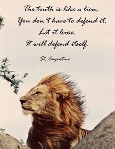 STAND for #TRUTH. #Saint #Augustine quote with #LION... https://www.pinterest.com/DianaDeeOsborne/take-a-stand-stand/ - TAKE A STAND AND STAND. Even in #Church when people teach false things about God's #Bible #Scriptures. Photo source unknown- not credited.