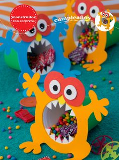 Risultati immagini per monster party favor ideas Monster First Birthday, Monster 1st Birthdays, Monster Birthday Parties, First Birthday Parties, Boy Birthday, Kids Birthday Treats, Monster Inc Party, Little Monster Party, Kids Crafts
