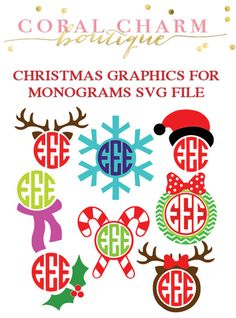 This is for two zipped folders with 8 monogram-compatible graphics in the form of SVG files AND Silhouette Studio files. Once purchased you (Cool Fonts Initials) Silhouette Vinyl, Silhouette Machine, Silhouette Cameo Projects, Silhouette Studio, Silhouette Files, Christmas Vinyl, Christmas Graphics, Christmas Shirts, Christmas Ideas
