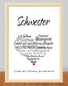 : ** G 244 ** print, motif: ** SISTER ** Her .- Item number: ** G 244 ** print, motif: ** SISTER ** Heart _Because the SISTER is simply the BEST;) _ This print is a great gift for your sister for her birthday, …