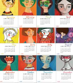 2015 printable monthly Calendar desk women portrait by ireneagh, €7.30