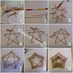 Ho realizzato questa stella con le cannucce di carta , e la trovo molto elegante come centro tavola natalizio . Newspaper Basket, Newspaper Crafts, Willow Weaving, Basket Weaving, Fun Crafts, Diy And Crafts, Arts And Crafts, Easter Crafts, Christmas Crafts