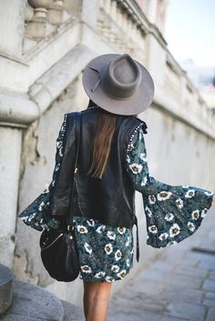 Dress: mypeeptoes blogger jacket shoes hat bag boho boho bell sleeve tumblr mini floral floral green