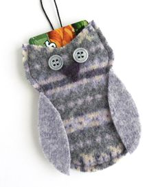 Felted Wool Gray/Lilac/Cream Owl Gift Card Holder / Decoration, Christmas Ornament, Upcycled, Birthday, Baby, Wedding Shower