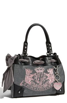 ♥ | Love gray and pink together in this Juicy Couture velour tote.