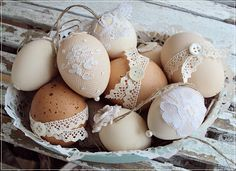 Beautiful display of handcrafted eggs - simple to make - just add tulle, lace, whatever!!!