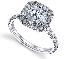 18K White Gold Diana Tiara Collection Sareen Diamond Engagement Ring Item # 13031R4      This is an exquisite 18K gold diamond engagement ring that has a sparkling round center stone and cushion cut style. The French halo and U shape diamonds makes this rings simply glow and glisten.    http://www.novori.com/diamond-engagement-ring-side-diamonds-13031R4-p.html#