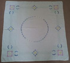"""8 July - Today's favourite lot - a beautiful vintage table cloth that has been embroidered on linen/cotton cloth. It features yellow, blue, pink and white daisies and is in excellent condition. Measures ~50"""" x ~50"""" square. On sale for £25 or best offer.  For more details and photos and to buy today's favourite lot please visit the """"Vintybits"""" online stall of timeless, useful & affordable adornments for you & your home http://www.vintassion.com/vintybits/S3vintage linen"""
