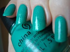 China Glaze Keepin' It Teal, stamped with Revlon Magnetize and the Cheeky Happy Nails plate, sandwiched *click for more*