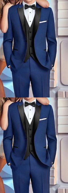 Peak Lapel Blue Wedding Tuxedo Men Prom Suit Two Pieces (Jacket Prom Suit Outfits, Prom Outfits For Guys, Prom For Guys, Prom Suits For Men, Men's Tuxedo Wedding, Wedding Suits, Blue Wedding, Wedding Tuxedos, Wedding Poses
