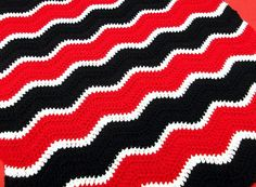 GA Themed Crochet Baby Blanket, Travel Size. Red, Black and White Stripes on Etsy, $27.00