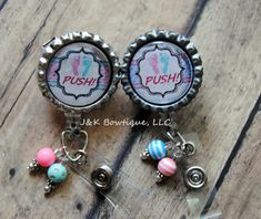 PUSH Badge reel great for L&D Nurses or Dr. - Retractable Badge Reel with BLING on Etsy, $6.00