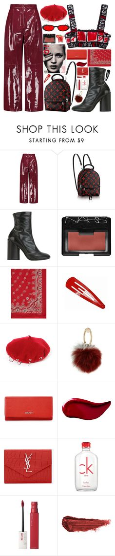 """""""350. Tokyo Blood"""" by ass-sass-in on Polyvore featuring Valentino, Marc Jacobs, NARS Cosmetics, Yves Saint Laurent, Yves Salomon, DKNY, Kat Von D, Calvin Klein, Maybelline and By Terry"""