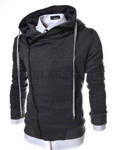 (LCJ5-CHARCOAL) Slim Fit Unbalanced Big Hood Cotton Jacket