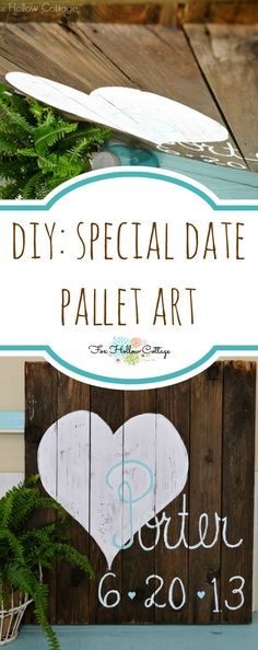 DIY Pallet Art | #wedding #anniversary #birthannouncement | Repurposed Reclaimed Wood