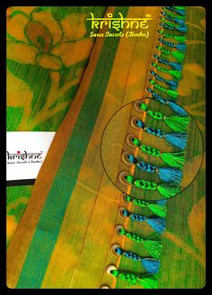 Latest Simple saree tassels collections_ Saree Kuchu with Crystals and Beads Designs! Saree Tassels Designs, Saree Kuchu Designs, Saree Blouse Neck Designs, Fancy Blouse Designs, Hand Embroidery, Embroidery Designs, Embroidery Suits, Gold Mangalsutra Designs, Stylish Blouse Design