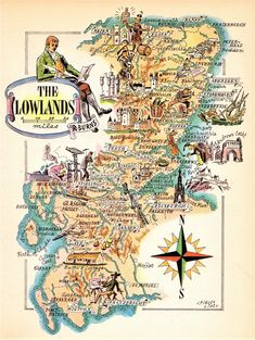 1949 Vintage Scotland Picture Map The Lowlands Cartoon Map Gallery Wall Art Gift for Traveler Birthday Wedding 8608 by plaindealing on Etsy Vintage Map Decor, Vintage Maps, Vintage Travel Posters, Old Maps, Antique Maps, Glasgow, Scotland Map, World Map Decor, Pictorial Maps