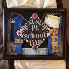 Obviously mine wouldn't have the Greek life theme but I like the layout of this shadow box