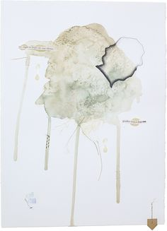 """But Not Forgotten, Fig 8. 11"""" x 15""""  – watercolor, pencil, thread, wax, charcoal, india ink, paper, tape  Abstract mixed-media watercolor paintings by Claiborne Colombo."""