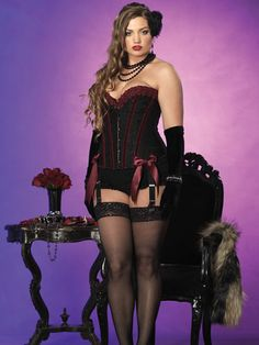 7741192652aed Plus Size Lingerie - Leg Avenue Black Brocade Crystal Corset with Boning