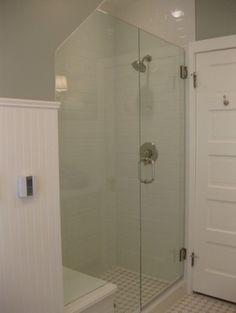 Bathroom - traditional - bathroom - denver - by Nadia Watts Interior Design Downstairs Bathroom, Bathroom Renos, Small Bathroom, Master Bathroom, Bathroom Ideas, Master Shower, Bath Ideas, Relaxing Bath Recipes, Glass Shower Enclosures