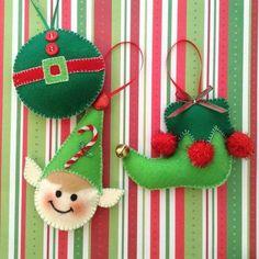 Felt christmas ornaments - 45 Button and Felt DIY Christmas Ornaments – Felt christmas ornaments Elf Christmas Decorations, Felt Christmas Ornaments, Christmas Elf, Handmade Christmas, Elf Decorations, Crochet Christmas, Handmade Decorations, Felt Ornaments Patterns, Handmade Ornaments