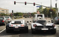 What would you do to be here when the lights go green? Bugatti Veyron vs Pagani Huayra