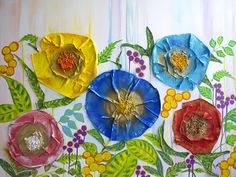 Mixed media flower art still life painting landscape artwork  Show some love and RePin!