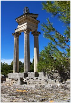 Glanum (Roman settlement) within easy walking distance just outside St. Remy, Provence.  You'll pass the sanitarium where Van Gogh stayed on your way to Glanum!