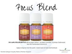 Blend to help focus and concentration. For adults, teens, and bouncing children!! Use in Diffuser, aromatherapy jewelry, or necklace. #LavenderEssentialOil