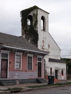 Overgrown church, 7th Ward, New Orleans.  La Belle Esplanade Bed and Breakfast: Mardi Gras Indians - New Orleans