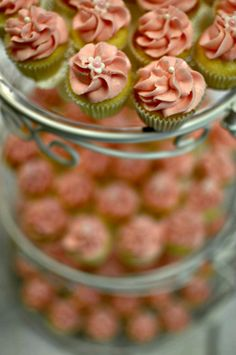 pink mini wedding cupcakes; Eli Harrigan Photography