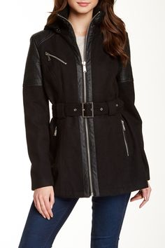 Detachable Hood Faux Leather Trim Jacket