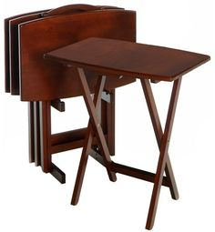TV Trays Lap Dinner Tray Set With Stand Walnut Wood Finish Folding Tables #Winsome