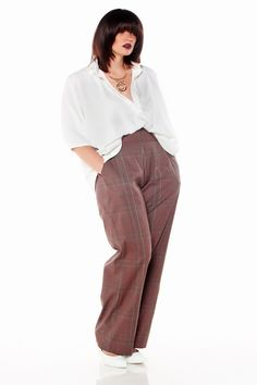 JIBRI Plus Size High Waist Wide Leg Slacks Lady by jibrionline, $135.00 these are so me! Actually the entire outfit is.